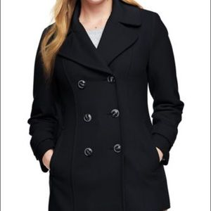 London Fog Black Double Breasted Wool Pea Coat